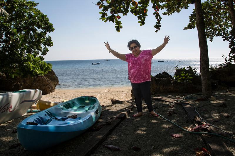 Jean Trebol on her beach.