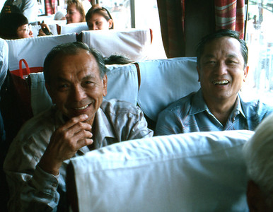 Uncle Jimmy and Pong on the bus.