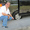 Peter Mancao, MD, cardiologist, and our flat tire.
