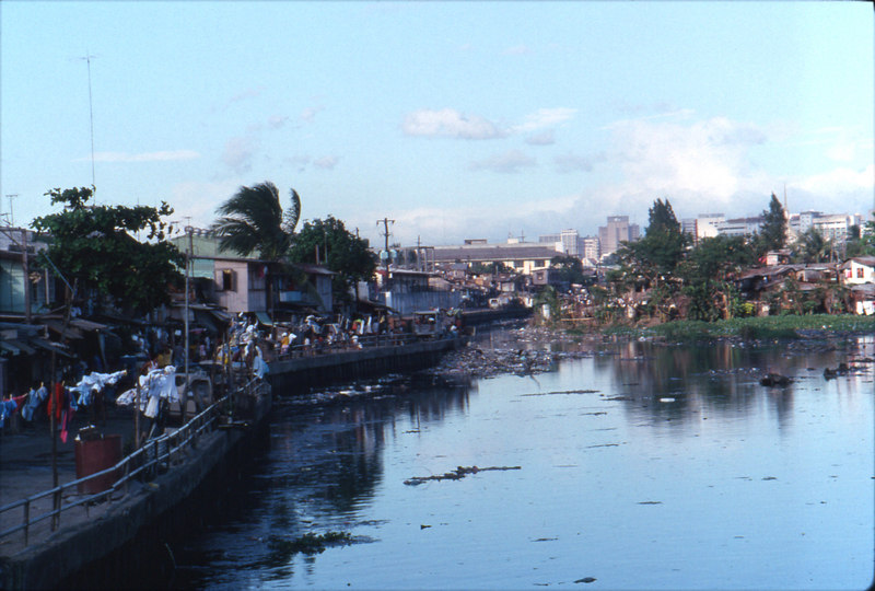 Our first view of the Philippines. A Manila drainage canal.