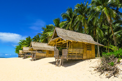 Bahay Kubos (traditional huts) on Daku Island, Siargao