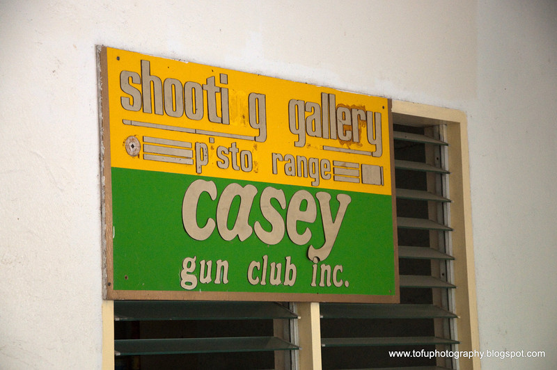 A tired pistol range sign at Mactan Island, Philippines, in March 2009