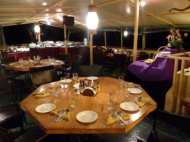 Dining area set up for dinner on Hans Christian Andersen Philippines LIveaboard
