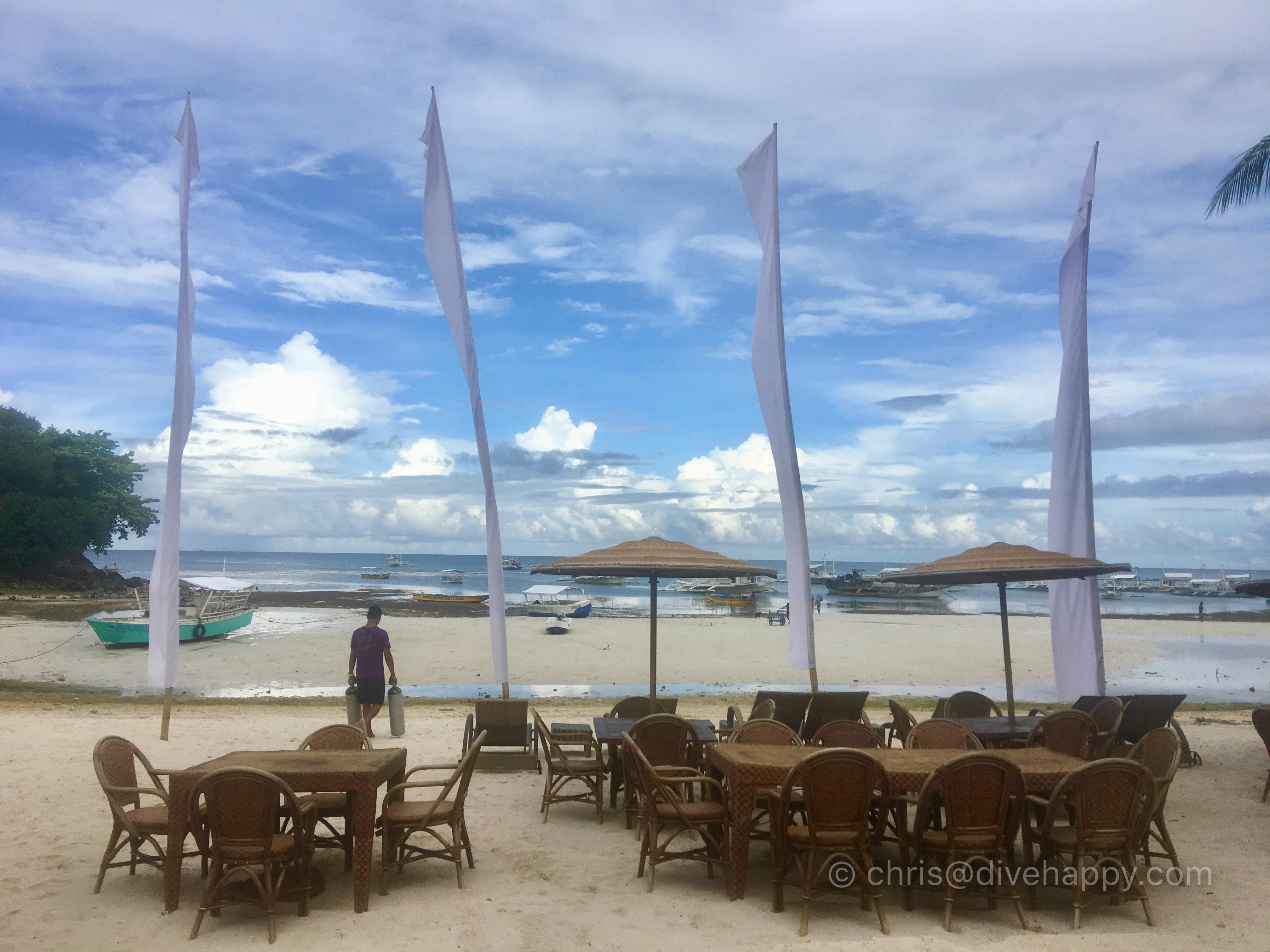 Morning view from Kokays Maldito resort restaurant