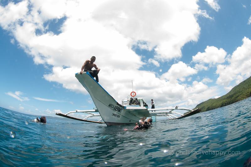 Banca dive boat, Sogod Bay, Philippines