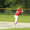 photo Scott LaPrade - 1st baseman Pat Gilman grabs a high throw to still get out Ryan Wandell from Rochdale