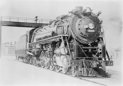2018.18.FN.005--philip weibler collection 5x7 sheet film neg--CRI&P--steam locomotive 4-8-4 5000--location unknown--built 1929