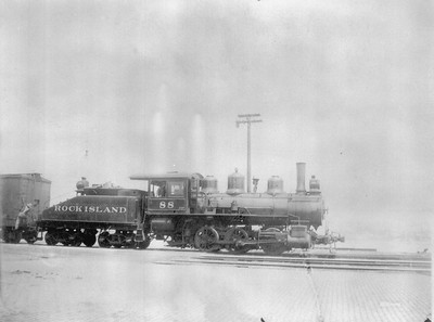 2018.18.FN.009--philip weibler collection 5x7 sheet film neg--CRI&P--steam locomotive 0-6-0 88--location unknown--no date