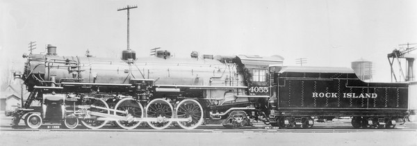 2018.18.FN.019--philip weibler collection 5x7 sheet film neg--CRI&P--steam locomotive 4-8-2 4055--location unknown--no date