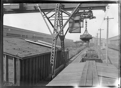 2018.18.FN.022--philip weibler collection 5x7 sheet film neg--CRI&P--company shops boneyard with overhead crane--Silvis IL--c1910 0000