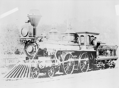 2018.18.FN.002--philip weibler collection 5x7 sheet film neg--CRI&P--steam locomotive 4-4-0 109 The Silver Engine--location unknown--built 1866