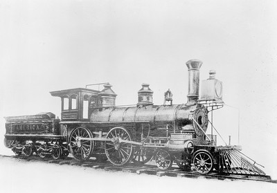 2018.18.FN.004--philip weibler collection 5x7 sheet film neg--CRI&P--steam locomotive 4-4-0 America--location unknown--built 1867