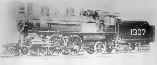 2018.18.FN.008--philip weibler collection 5x7 sheet film neg (builders)--CRI&P--steam locomotive 4-4-2 1307--location unknown--no date