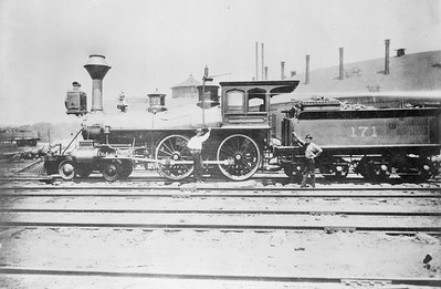 2018.18.FN.006--philip weibler collection 5x7 sheet film neg--CRI&P--steam locomotive 4-4-0 171--Des Moines IA--1881 0000
