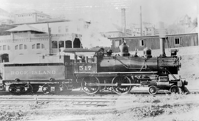 2018.18.FN.003--philip weibler collection 5x7 sheet film neg--CRI&P--steam locomotive 4-4-0 517--location unknown--no date