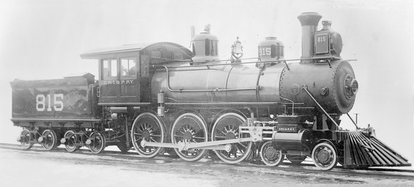 2018.18.FN.012--philip weibler collection 5x7 sheet film neg (builders)--CRI&P--steam locomotive 4-6-0 815--location unknown--built 1892