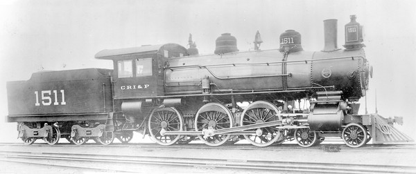 2018.18.FN.010--philip weibler collection 5x7 sheet film neg (builders)--CRI&P--steam locomotive 4-6-0 1511--location unknown--built 1902