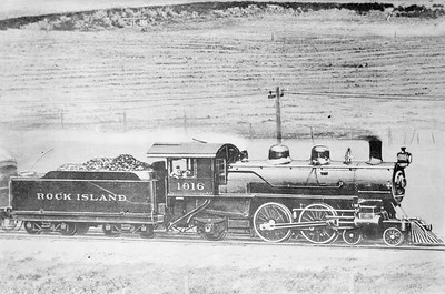 2018.18.FN.015--philip weibler collection 5x7 sheet film neg--CRI&P--steam locomotive 4-4-2 A-24 1016--location unknown--no date