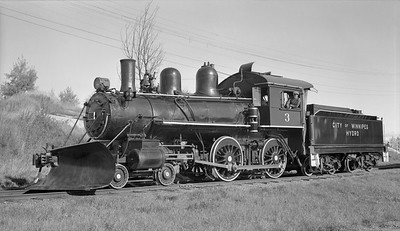 2010.012.N.015--phil weibler collection 116 neg [Henry Bender]--City of Winnipeg Hydro--steam locomotive 4-4-0 3--Pointe du Bois MA--1959 1005