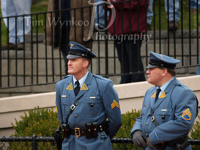 1982 Phillipsburg High School graduated, N.J. State Trooper David Ziegman, on right, patrols the game. Other trooper is unidentified.