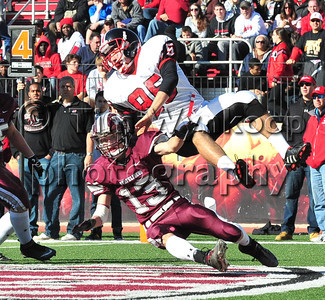 11/22/2012, Easton, PA: Phillipsburg's Connor Lilly kicks Easton's Kristopher Horton (95) from his feet in the end zone after a punt. Phillipsburg vs Easton at Lafayette College's Fisher Field. First half.|