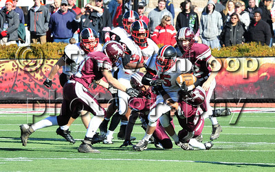11/22/2012, Easton, PA: Easton's John Burley (5) tries to pull away with the ball. Phillipsburg vs Easton at Lafayette College's Fisher Field. First half.|