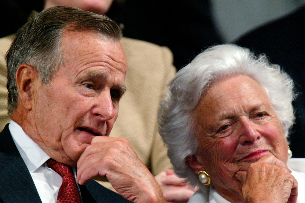 ". FILE - In this Sept. 2, 2004, file photo, former President George H.W. Bush and former first lady Barbara Bush listen as the president accepts the party nomination at the Republican National Convention in New York. With her husband still at her side, Barbara Bush has decided to decline further medical treatment for health problems and focus instead on ""comfort care\"" at their home in Houston. Family spokesman Jim McGrath disclosed Barbara Bush\'s decision Sunday, April 15, 2018. (AP Photo/Paul Sancya, File)"