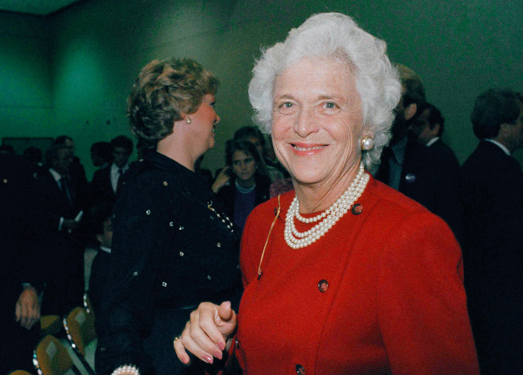 . FILE - In this Oct. 11, 1984, file photo, Barbara Bush, wife of then-U.S. Vice-President George Bush, is photographed at the debate between Bush and Democrat Geraldine Ferraro. A family spokesman said Tuesday, April 17, 2018, that former first lady Barbara Bush has died at the age of 92. (AP Photo/File)