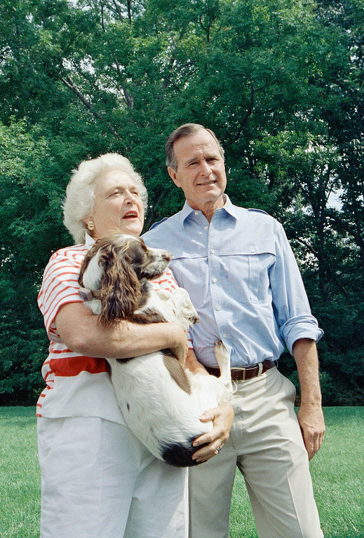 ". FILE - In this Sept. 3, 1988 file photo, Vice President George H.W. Bush, right, and his Barbara Bush, holding the family dog, talk to reporters after a press conference outside their home in Washington, D.C. Former first couple George and Barbara Bush\'s relationship is a true love story, described by granddaughter Jenna Bush Hager as ""remarkable.\"" They met at a Christmas dance. She was 17. He was 18. Two years later they were married. Now 73 years later, with Barbara Bush declining further medical care for health problems, they are the longest-married couple in presidential history. (AP Photo/J. Scott Applewhite, File)"