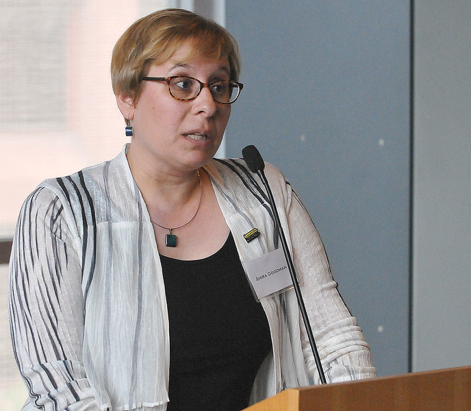 PETE BANNAN-DIGITAL FIRST MEDIA     Executive Director Shira Goodman speaks at a gathering of gun control supporters at The National Museum of American Jewish History Monday.