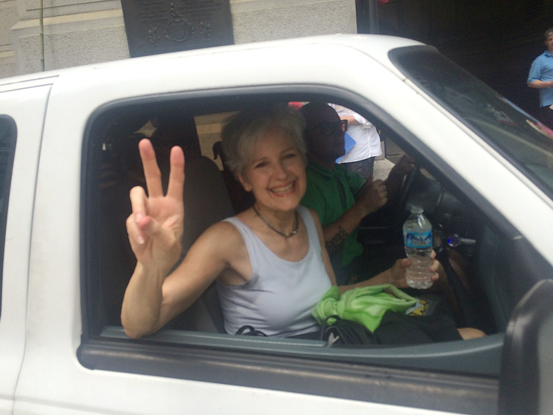 PETE BANNAN DIGITAL FIRST MEDIA  Dr Jill Stein the Green Party  candidate for president,leaves the Poor People's Economic Human Rights Campaign rally at Philadelphia Cty Hall Monday, during the Democratic National Convention.