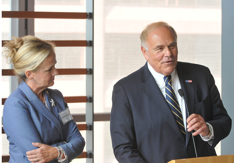 """PETE BANNAN DIGITAL FIRST MEDIA  Former Pennsylvania Gov. Ed Rendell,speaks at a gathering of gun control supporters at The National Museum of American Jewish History Monday.To his left is PA State Rep. Madeleine Dean, D-153, of Montgomery County. """"This is a fight worth fighting for,"""" Rendell said."""