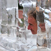 "PETE BANNAN DIGITAL FIRST MEDIA  Robert Hare of Philadelphia sticks his head he in an ice sculpture art instillation,""The American Dream Project"" by Nora Ligorano and Marshall Reese on Independence Mall Monday afternoon.  Ligorano said a goal of the public art work was to focus on issues of equality and the erosion of opportunity in society. THe work, measuring 30 feet long and five feet high was quickly melting in the 95 degree heat.The work was also created in Cleveland for the Republican National Convention."