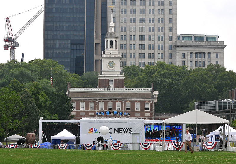 PETE BANNAN DIGITAL FIRST MEDIA  NBC News is broadcasting from Independence Mall during the Democratic National Convention.