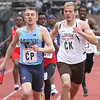 ROBERT GURECKI   -   DIGITAL FIRST MEDIA.<br /> Maine's Tyler Martin, left, battles with Lehigh's Emre Soybas in the College Mens 4 x 400 event at the Penn Relays.