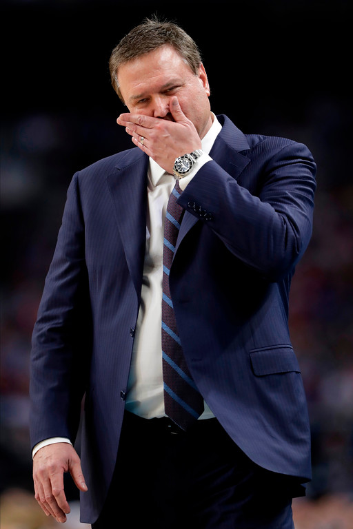 . Kansas head coach Bill Self reacts during the second half in the semifinals of the Final Four NCAA college basketball tournament against Villanova, Saturday, March 31, 2018, in San Antonio. (AP Photo/Eric Gay)
