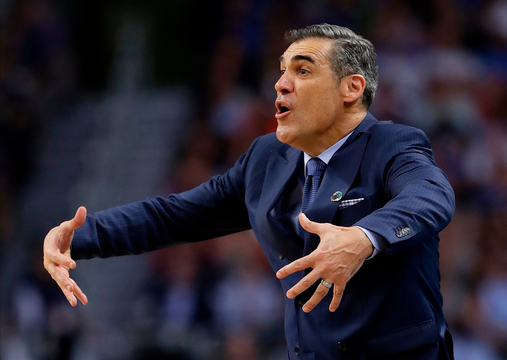 . Villanova head coach Jay Wright directs his team during the second half in the semifinals of the Final Four NCAA college basketball tournament against Kansas, Saturday, March 31, 2018, in San Antonio. (AP Photo/Eric Gay)