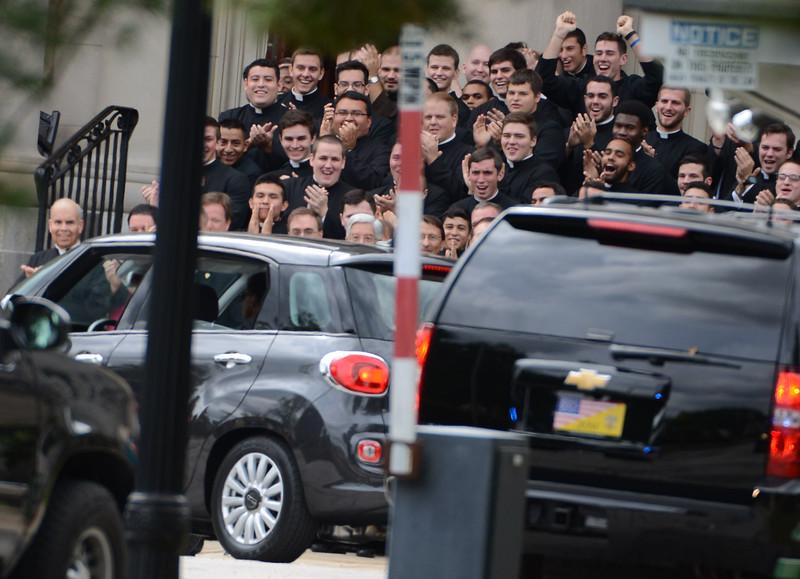 Pope Francis arrives at Saint Charles Seminary Saturday Sept. 26, 2015 where he was serenaded by seminarians. PETE BANNAN-DIGITAL FIRST MEDIA
