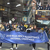 PETE  BANNAN-DIGITAL FIRST MEDIA        Villanova marches in the parade on Market St. in celebration of the 2018 National Championship Thursday.