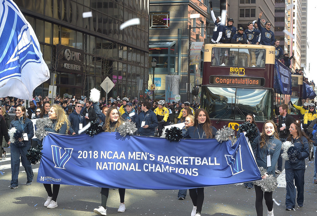 . PETE  BANNAN-DIGITAL FIRST MEDIA        Villanova marches in the parade on Market St. in celebration of the 2018 National Championship Thursday.