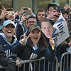 PETE  BANNAN-DIGITAL FIRST MEDIA        Villanova student Katie Austin enjoys the parade down Market St. in celebration of the 2018 National Championship Thursday.
