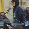 PETE  BANNAN-DIGITAL FIRST MEDIA     Villanova's Donte DiVincenzo speaks at City Hall during Wildcat National Championship celebration Thursday.