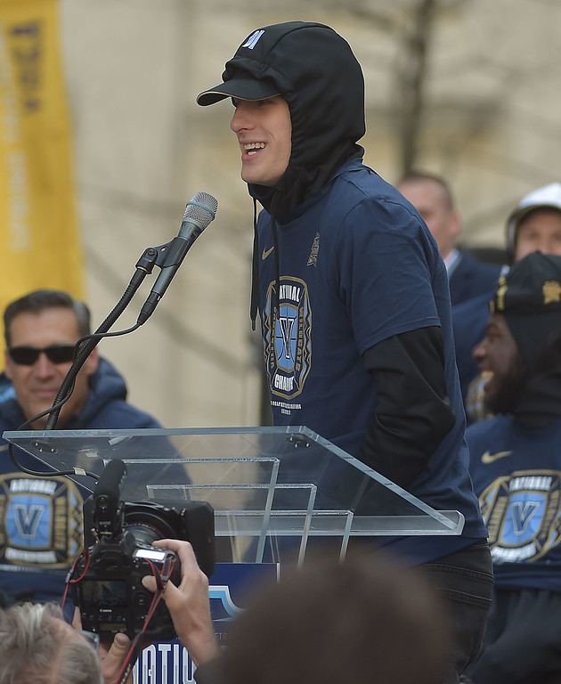 . PETE  BANNAN-DIGITAL FIRST MEDIA     Villanova\'s Donte DiVincenzo speaks at City Hall during Wildcat National Championship celebration Thursday.