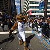 PETE  BANNAN-DIGITAL FIRST MEDIA     Villanova mascot Will D. Cat marches along the Market St. during their National Championship parade Thursday.