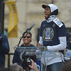 PETE  BANNAN-DIGITAL FIRST MEDIA       Villanova's Mikal Bridges tspeaks at the National Chmpionship celebration at Philadelphia Hall THursday.