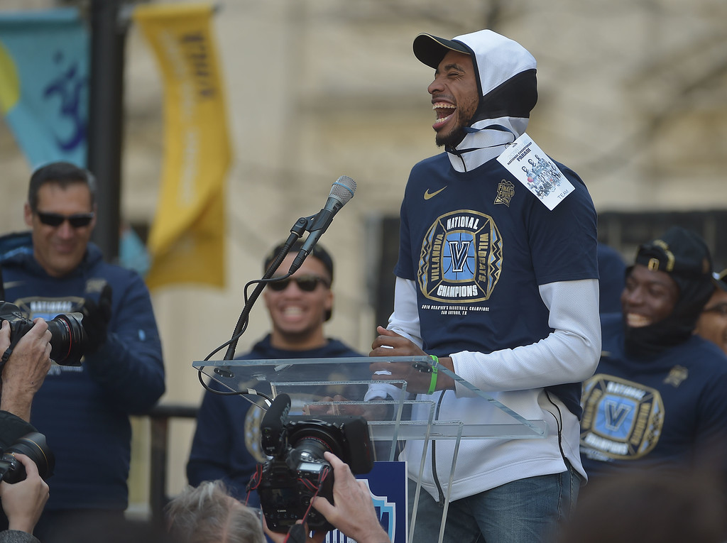 . PETE  BANNAN-DIGITAL FIRST MEDIA       Villanova\'s Mikal Bridges tspeaks at the National Chmpionship celebration at Philadelphia Hall THursday.