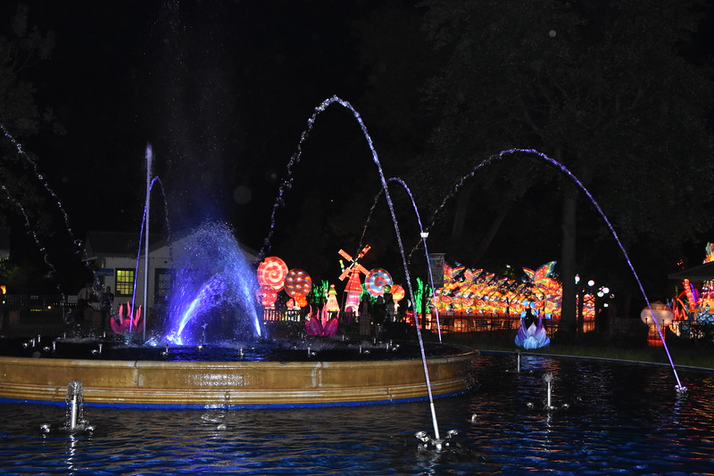 Franklin Square Fountain and Chinese Lantern Lights. These lanterns are there in the spring every year.  - 2019