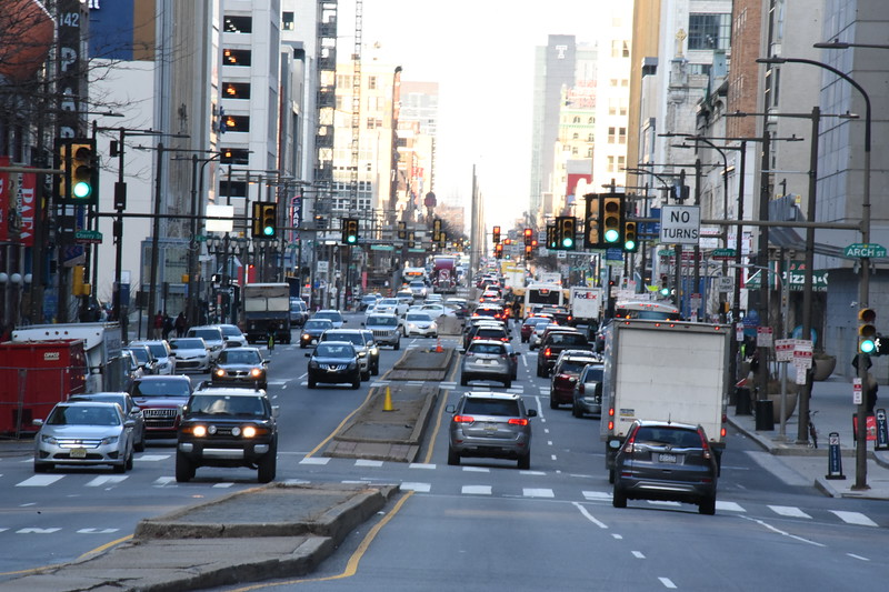 North Broad looking towards Vine Street from City Hall -2020