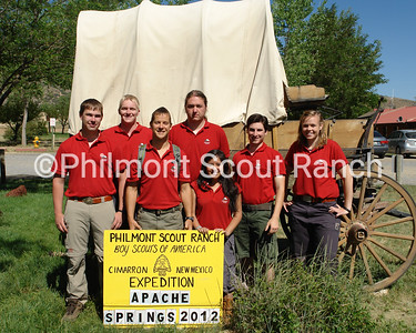2012 Apache Spring Staff: Thomas Barber, Shane Tucker, Victoria Rollins, Andrew Nelson, William Guins, Mike McKinnon, and Alli Dietz.