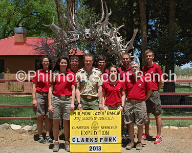 Clark's Fork Staff  Back row (L to R): Alissa S., Ben Fox, Trevor L., Tyler M., Maciek B.,  Front row (L to R): Tara B., Briky, Jane S., John B.